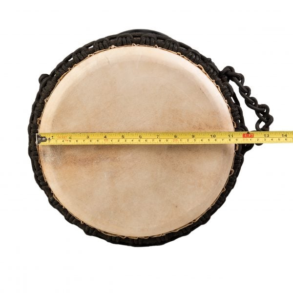 This is product image of Drums for Schools' Djembe Natural Wide Top 8 inch diameter, 30cm high. Image showing of the diameter of the drum