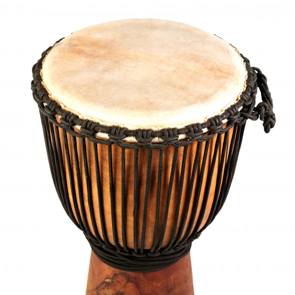 This is product image of Drums for Schools' Djembe Natural Wide Top 8 inch diameter, 30cm high. Image showing of the top of the drum