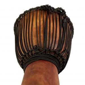 This is product image of Drums for Schools' Djembe Natural Wide Top 8 inch diameter, 30cm high. Image showing of the stringing of the drum