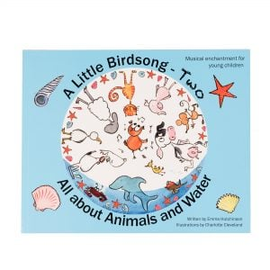 This is a product image of the blue cover of the 'A Little Birdsong' book 2.