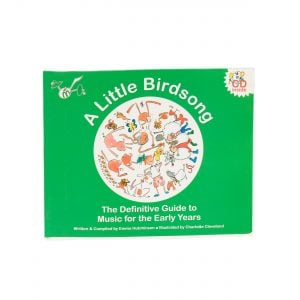 This is a product image of the green cover of the 'A Little Birdsong' book.