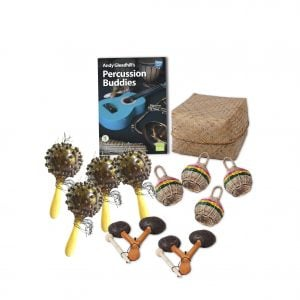 This is a product image of the African Drumming - Percussion Buddies - 10 Pack. The products included in the pack are laid out and include the following; Back Row - Andy Gleadhill's Percussion Buddies Book, Storage Basket. Middle row - Four Seseh - Coconut Shakers, four Caxixi Basket Shakers. Front row - Two Agogo - natural.