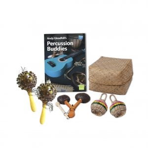 This is a product image of the African Drumming - Percussion Buddies - 5 Pack. The products included in the pack are laid out and include the following; Back Row - Andy Gleadhill's Percussion Buddies Book, Storage Basket. Front row - Two Seseh Coconut Shakers, one Agogo - natural, two Caxixi Basket Shakers.