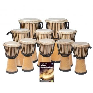 This is a product image of the African Drumming - Primary - 10 Djembe Drum Pack. The products in the pack are laid out and include the following; Back Row  - Two Djembe Drum - Standard - 10.5in diameter, 60cm high, natural. Second Row - Three Djembe Drum - Standard - 9in diameter, 50cm high, natural. Third Row - Five Djembe Drum - Standard - 8in diameter, 40cm high, natural. Front Row - Andy Gleadhill's African Drumming Book 1.
