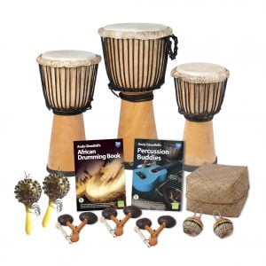 This is a product image of the African Drumming - Primary - 10 Player Starter Pack. The products in the pack are laid out and include the following; Back Row  (left to right) - One Djembe Drum - Standard - 9in diameter, 50cm high, natural, one Djembe Drum - Standard - 10.5in diameter, 60cm high, natural, one Djembe Drum - Standard - 8in diameter, 40cm high, natural. Middle Row - Two Seseh - Coconut Shakers, Andy Gleadhill's African Drumming Book 1, Andy Gleadhill's Percussion Buddies Book, Storage Basket. Front Row - Three Agogo - natural, two Caxixi Basket Shakers.