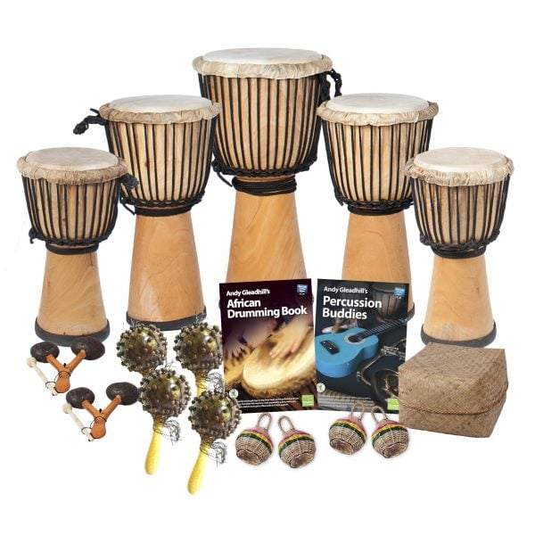 This is a product image of the African Drumming - Primary - 15 Player Class Pack - Budget Buddies. The products in the pack are laid out and include the following; Back Row  - Two Djembe Drum - Standard - 8in diameter, 40cm high, natural, two Djembe Drum - Standard - 9in diameter, 50cm high, natural, One Djembe Drum - Standard - 10.5in diameter, 60cm high, natural. Second Row - Two Agogo - natural, four Seseh - Coconut Shakers, Andy Gleadhill's African Drumming Book 1, Andy Gleadhill's Percussion Buddies Book, Storage Basket. Front Row - Four Caxixi Basket Shakers.
