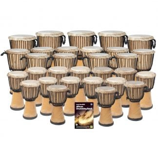 This is a product image of the African Drumming - Primary - 30 Djembe Drum Pack. The products in the pack are laid out and include the following; Back Row - Five Djembe Drum - Standard - 10.5in diameter, 60cm high, natural. Second Row - Ten Djembe Drum - Standard - 9in diameter, 50cm high, natural. Third Row - Fifteen Djembe Drum - Standard - 8in diameter, 40cm high, natural. Front Row - Andy Gleadhill's African Drumming Book 1.