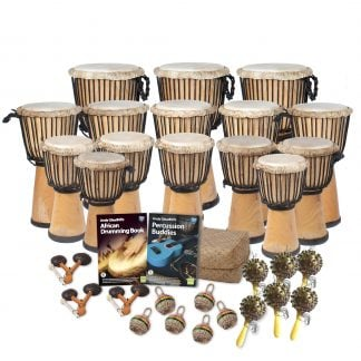 This is a product image of the African Drumming - Primary - 30 Player Class Pack - Buddies. The products in the pack are laid out and include the following; Back Row - Three Djembe Drum - Standard - 10.5in diameter, 60cm high, natural. Second Row - Five Djembe Drum - Standard - 9in diameter, 50cm high, natural. Third Row - Seven Djembe Drum - Standard - 8in diameter, 40cm high, natural. Fourth Row - Andy Gleadhill's African Drumming Book 1, Andy Gleadhill's Percussion Buddies Book. Front Row - Three Agogo - natural, Six Caxixi Basket Shakers, Six Seseh - Coconut Shakers.
