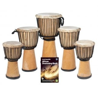 This is a product image of the African Drumming - Primary - 5 Djembe Drum Pack. The products in the pack are laid out and include the following; Back Row - Djembe Drum - Standard - 10.5in diameter, 60cm high, natural. Second Row - Djembe Drum - Standard - 9in diameter, 50cm high, natural. Third Row - Djembe Drum - Standard - 8in diameter, 40cm high, natural. Front Row - Andy Gleadhill's African Drumming Book 1.