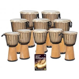 This is a product image of the African Drumming - Secondary - 10 Djembe Drum Pack. The products in the pack are laid out and include the following; Back Row - Two Djembe Drum - Standard - 12in diameter, 65cm high, natural. Second Row - Three Djembe Drum - Standard - 10.5in diameter, 60cm high, natural. Third Row - Five Djembe Drum - Standard - 9in diameter, 50cm high, natural. Front Row - Andy Gleadhill's African Drumming Book.