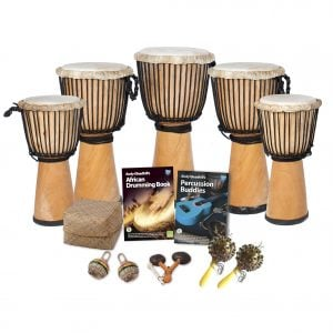 This is a product image of the African Drumming - Secondary - 10 Player Class Pack - Buddies. The products in the pack are laid out and include the following; Back Row - One Djembe Drum - Standard - 12in diameter, 65cm high, natural. Second Row - Two Djembe Drum - Standard - 10.5in diameter, 60cm high, natural. Third Row - Two Djembe Drum - Standard - 9in diameter, 50cm high, natural. Fourth Row - Andy Gleadhill's African Drumming Book 1, Andy Gleadhill's Percussion Buddies Book, Storage Basket. Front Row - Two Caxixi Basket Shakers, one Agogo - natural, two Seseh - Coconut Shakers.