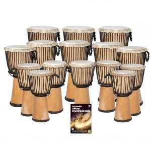 This is a product image of the African Drumming - Secondary - 15 Djembe Drum Pack. The products in the pack are laid out and include the following; Back Row - Three Djembe Drum - Standard - 12in diameter, 65cm high, natural. Second Row - Five Djembe Drum - Standard - 10.5in diameter, 60cm high, natural. Third Row - Seven Djembe Drum - Standard - 9in diameter, 50cm high, natural. Front Row - Andy Gleadhill's African Drumming Book 1.