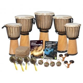 This is a product image of the African Drumming - Secondary - 15 Player Class Pack - Budget Buddies. The products in the pack are laid out and include the following; Back Row - One Djembe Drum - Standard - 12in diameter, 65cm high, natural. Second Row - Two Djembe Drum - Standard - 10.5in diameter, 60cm high, natural. Third Row - Two Djembe Drum - Standard - 9in diameter, 50cm high, natural. Fourth Row - Storage Basket, Andy Gleadhill's African Drumming Book 1, Andy Gleadhill's Percussion Buddies Book. Front Row - Four Seseh - Coconut Shakers, four Caxixi Basket Shakers, two Agogo - natural.