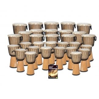 This is a product image of the African Drumming - Secondary - 30 Djembe Drum Pack. The products in the pack are laid out and include the following; Back Row - Five Djembe Drum - Standard - 12in diameter, 65cm high, natural. Second Row - Ten Djembe Drum - Standard - 10.5in diameter, 60cm high, natural. Third Row - Fifteen Djembe Drum - Standard - 9in diameter, 50cm high, natural. Front Row - Andy Gleadhill's African Drumming Book 1.