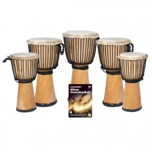 This is a product image of the African Drumming - Secondary - 5 Djembe Drum Pack. The products in the pack are laid out and include the following; Back Row - One Djembe Drum - Standard - 12in diameter, 65cm high, natural. Second Row - Two Djembe Drum - Standard - 10.5in diameter, 60cm high, natural. Third Row - Two Djembe Drum - Standard - 9in diameter, 50cm high, natural. Front Row - Andy Gleadhill's African Drumming Book 1.