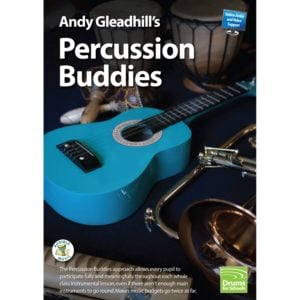 This is a product image of the front cover of Andy Gleadhill's Percussion Buddies Book.