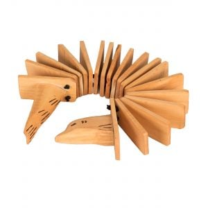 Animal Clacker - Early Years, rolled. It is made of light wood with lots of internal sections. The two handles are the head and tail of an animal.