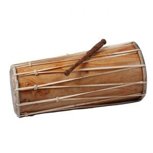 This is a product image of the Balinese Drum - 60cm. It is laid horizontally from small head to large head, with the beater laid on top. It is made of wood and has leather straps running back and forth around the length of the shell to hold the drum heads tight in place.