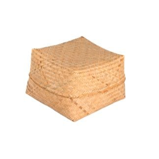 This is a product image of the Basket - Medium - 26cm, bamboo, complete with lid.