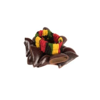 This is a product image of the Bracelet Shaker - Bento. It has a rasta coloured elastic strap with brown Bento shells attached all the way around.