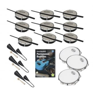 This is a product image of the Brazilian Samba - Percussion Buddies - 15 Pack. The products in the pack are laid out and include the following; Back Three Rows -  Nine Tamborim - 6in diameter, Izzo, with beaters lying on them. Bottom Three Rows - Three Agogo Bells - Medium, Andy Gleadhill's Percussion Buddies Book, three Pandeiro - 10in diameter, Izzo.