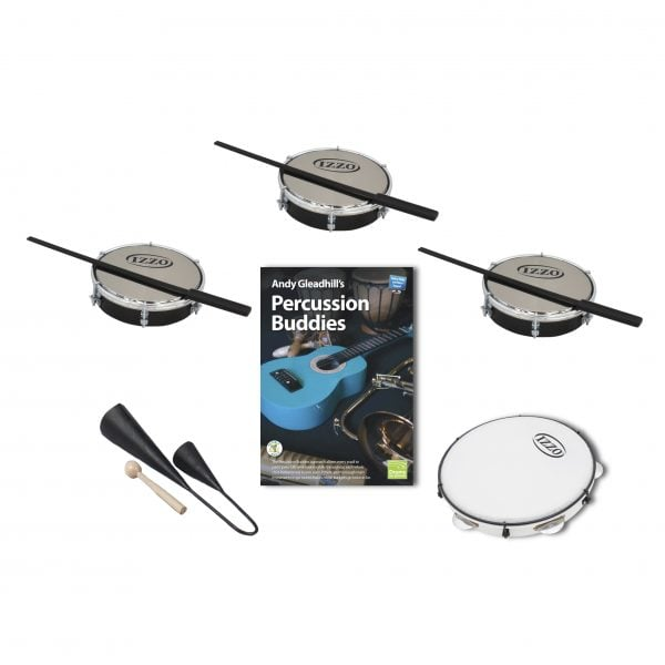 This is a product image of the Brazilian Samba - Percussion Buddies - 5 Pack. The products in the pack are laid out and include the following; Back Row  -  Three Tamborim - 6in diameter, Izzo, with beaters lying on them. Bottom Rows - One Agogo Bells - Medium, Andy Gleadhill's Percussion Buddies Book, one Pandeiro - 10in diameter, Izzo.