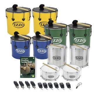 This is a product image of the Brazilian Samba - Primary - 10 Big Drums Pack. The products are laid out and include the following; Back Row - Two Nesting Surdo - 16in diameter, aluminium, Izzo (Yellow). Second Row - Two Nesting Surdo - 14in diameter, aluminium, Izzo (Green). Third Row - Two Nesting Surdo - 12in diameter, aluminium, Izzo (Blue). Fourth Row - Two Repinique - 12in diameter, aluminium, Izzo (Silver). Fifth Row - Andy Gleadhill's Brazilian Samba Book, two Caixa - 12in diameter, aluminium, Izzo (Silver). Front Row - Four straps for the Repiniques and Caixas, Six straps for the Surdos and one Tritone Samba Whistle (Apito). All of the drums have a suitable beater or stick lying on top of their skin.