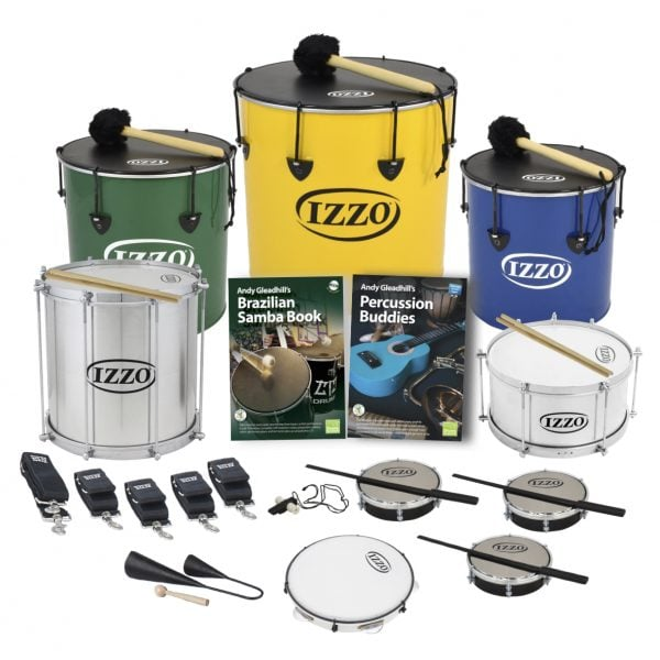 This is a product image of the Brazilian Samba - Primary - 10 Player Class Pack - Buddies. The products are laid out and include the following; Back Row - One Nesting Surdo - 14in diameter, aluminium, Izzo (Green), one Nesting Surdo - 16in diameter, aluminium, Izzo (Yellow), one Nesting Surdo - 12in diameter, aluminium, Izzo (Blue). Second Row - one Repinique - 12in diameter, aluminium, Izzo (Silver), Andy Gleadhill's Brazilian Samba Book, Andy Gleadhill's Percussion Buddies Book, one Caixa - 12in diameter, aluminium, Izzo (Silver). Third Row - One strap for the Caixa, four straps for the Surdos and Repinique, one Tritone Samba Whistle (Apito), three Tamborim - Izzo. Front Row - One Agogo Bells - Medium, one Pandeiro - 10in diameter, Izzo. All of the drums have a suitable beater or stick lying on top of their skin.