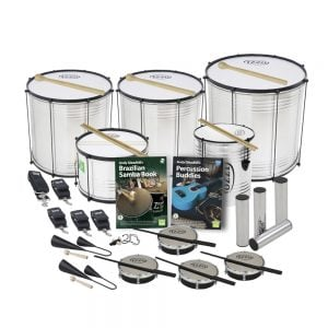 This is a product image of the Brazilian Samba - Primary - 15 Player Economy Class Pack. The products are laid out and include the following; Back Row - Two Surdo - Economy - 14in diameter, aluminium, Izzo (Silver), one Surdo - Economy - 16in diameter, aluminium, Izzo (Silver). Second Row - One Caixa - Economy - 12in diameter, aluminium, Izzo (Silver), one Repinique - Economy - 10in diameter, aluminium, Izzo (Silver). Third Row - Two straps for the Caixa and Repinique, three straps for the Surdos, Andy Gleadhill's Brazilian Samba Book, Andy Gleadhill's Percussion Buddies Book, four Ganza. Front Row - Two Agogo Bells - Medium, one Tritone Samba Whistle (Apito), four Tamborim - Izzo. All of the drums have a suitable beater or stick lying on top of their skin.