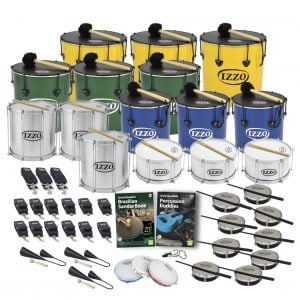 This is a product image of the Brazilian Samba - Primary - 30 Player Class Pack - Buddies. The products are laid out and include the following; Back Row - Three Nesting Surdo - 12in diameter, aluminium, Izzo (Yellow). Second Row - Nesting Surdo - 14in diameter, aluminium, Izzo (Green). Third Row - Three Repinique - 12in diameter, aluminium, Izzo (Silver), three Nesting Surdo - 12in diameter, aluminium, Izzo (Blue). Fourth Row - Three Caixa - 12in diameter, aluminium, Izzo (Silver). Fifth Row - Six straps for the Repiniques and Caixas, nine straps for the Surdos, Andy Gleadhill's Brazilian Samba Book, Andy Gleadhill's Percussion Buddies Book, nine Tamborim - Izzo. Bottom Row - Three Agogo Bells - Medium, three Pandeiro - 10in diameter, Izzo, one Tritone Samba Whistle (Apito). All of the drums have a suitable beater or stick lying on top of their skin.