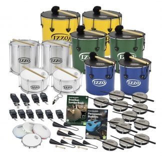 This is a product image of the Brazilian Samba - Primary - 30 Player Class Pack - Budget Buddies. The products are laid out and include the following; Back Row - Two Nesting Surdo - 16in diameter, aluminium, Izzo (Yellow). Second Row - Two Repinique - 12in diameter, aluminium, Izzo (Silver), two Nesting Surdo - 14in diameter, aluminium, Izzo (Green). Third Row - Two Caixa - 12in diameter, aluminium, Izzo (Silver), Two Nesting Surdo - 12in diameter, aluminium, Izzo. Fourth Row - Four straps for the Repiniques and Caixas, six straps for the Surdos, one Tritone Samba Whistle (Apito), Andy Gleadhill's Brazilian Samba Book, Andy Gleadhill's Percussion Buddies Book, twelve Tamborim - Izzo. Bottom Row - Four Pandeiro - 10in diameter, Izzo, four Agogo Bells - Medium. All of the drums have a suitable beater or stick lying on top of their skin.