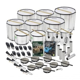 This is a product image of the Brazilian Samba - Primary - 30 Player Economy Class Pack. The products are laid out and include the following; Back Two Rows - Four Surdo - Economy - 14in diameter, aluminium, Izzo (Silver), two Surdo - Economy - 16in diameter, aluminium, Izzo (Silver). Third Row - Two Caixa - Economy - 12in diameter, aluminium, Izzo (Silver), two Repinique - Economy - 10in diameter, aluminium, Izzo (Silver). Fourth Row - Four straps for the Caixas and Repiniques, six straps for the Surdos, Andy Gleadhill's Brazilian Samba Book, Andy Gleadhill's Percussion Buddies Book, eight Ganza. Fifth Row - Four Agogo Bells - Medium, eight Tamborim - Izzo, one Tritone Samba Whistle (Apito). All of the drums have a suitable beater or stick lying on top of their skin.