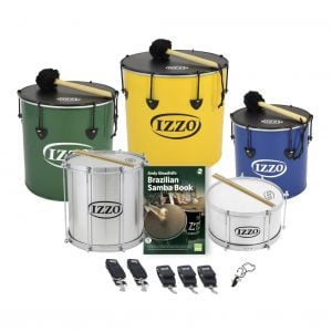 This is a product image of the Brazilian Samba - Primary - 5 Big Drums Pack. The products are laid out and include the following; Back Row - One Nesting Surdo - 14in diameter, aluminium, Izzo (Green), One Nesting Surdo - 16in diameter, aluminium, Izzo (Yellow), One Nesting Surdo - 12in diameter, aluminium, Izzo (Blue). Second Row - One Repinique - 12in diameter, aluminium, Izzo (Silver), Andy Gleadhill's Brazilian Drumming Book, one Caixa - 12in diameter, aluminium, Izzo (Silver). Front Row - Two straps for the Repinique and Caixa, three straps for the Surdos, one Tritone Samba Whistle (Apito). All of the drums have a suitable beater or stick lying on top of their skin.