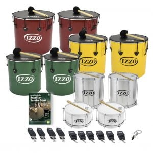 This is a product image of the Brazilian Samba - Secondary - 10 Big Drums Pack. The products are laid out and include the following; Back Row - Two Nesting Surdo - 18in diameter, aluminium, Izzo (Red). Second Row - Two Nesting Surdo - 16in diameter, aluminium, Izzo (Yellow). Third Row - Two Nesting Surdo - 14in diameter, aluminium, Izzo (Green). Fourth Row - Two Repinique - 12in diameter, aluminium, Izzo (Silver). Fifth Row - Andy Gleadhill's Brazilian Samba Book, two Caixa - 12in diameter, aluminium, Izzo (Silver). Bottom Row - Four straps for the Repiniques and Caixas, six straps for the Surdos, one Tritone Samba Whistle (Apito). All of the drums have a suitable beater or stick lying on top of their skin.