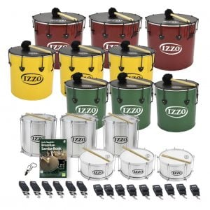 This is a product image of the Brazilian Samba - Secondary - 15 Big Drums Pack. The products are laid out and include the following; Back Row - Three Nesting Surdo - 18in diameter, aluminium, Izzo (Red). Second Row - Three Nesting Surdo - 16in diameter, aluminium, Izzo (Yellow). Third Row - Three Nesting Surdo - 14in diameter, aluminium, Izzo (Green). Fourth Row - Three Repinique - 12in diameter, aluminium, Izzo (Silver). Fifth Row - One Tritone Samba Whistle (Apito), Andy Gleadhill's Brazilian Samba Book, three Caixa - 12in diameter, aluminium, Izzo (Silver). Bottom Row - Six straps for the Repiniques and Caixas, nine straps for the Surdos. All of the drums have a suitable beater or stick lying on top of their skin.