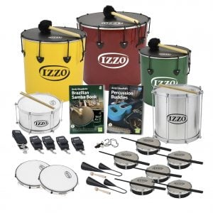 This is a product image of the Brazilian Samba - Secondary - 15 Player Class Pack - Budget Buddies. The products are laid out and include the following; Back Row - One Nesting Surdo - 16in diameter, aluminium, Izzo (Yellow), one Nesting Surdo - 18in diameter, aluminium, Izzo (Red), one Nesting Surdo - 14in diameter, aluminium, Izzo (Green). Second Row - One Caixa - 12in diameter, aluminium, Izzo (Silver), Andy Gleadhill's Brazilian Samba Book, Andy Gleadhill's Percussion Buddies Book, one Repinique - 12in diameter, aluminium, Izzo (Silver). Third Row - Two straps for the Caixa and Repinique, three straps for the Surdos, one Tritone Samba Whistle (Apito), six Tamborim - Izzo. Bottom Row - Two Pandeiro - 10in diameter, Izzo, two Agogo Bells - Medium. All of the drums have a suitable beater or stick lying on top of their skin.