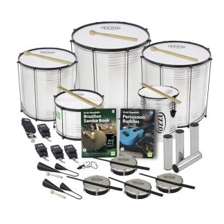 This is a product image of the Brazilian Samba - Secondary - 15 Player Economy Class Pack. The products are laid out and include the following; Back Row - One Surdo - Economy - 14in diameter, aluminium, Izzo (Silver), one Surdo - Economy - 18in diameter, aluminium, Izzo (Silver), one Surdo - Economy - 16in diameter, aluminium, Izzo (Silver). Second Row - One strap for the Caixa, four straps for the Surdos and Repinique, one Caixa - Economy - 12in diameter, aluminium, Izzo (Silver), Andy Gleadhill's Brazilian Samba Book, Andy Gleadhill's Percussion Buddies Book, one Repinique - Economy - 10in diameter, aluminium, Izzo (Silver), four Ganza. Bottom Row - Two Agogo Bells - Medium, one Tritone Samba Whistle (Apito), four Tamborim - Izzo. All of the drums have a suitable beater or stick lying on top of their skin.