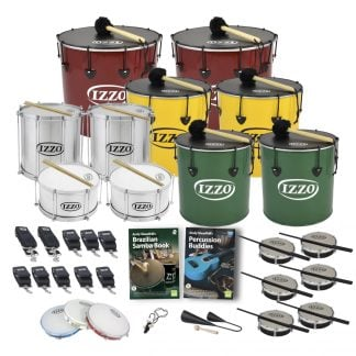 This is a product image of the Brazilian Samba - Secondary - 20 Player Class Pack - Buddies. The products are laid out and include the following; Back Row - Two Nesting Surdo - 18in diameter, aluminium, Izzo (Red). Second Row - Two Repinique - 12in diameter, aluminium, Izzo (Silver), two Nesting Surdo - 16in diameter, aluminium, Izzo (Yellow). Third Row - Two Caixa - 12in diameter, aluminium, Izzo (Silver), two Nesting Surdo - 14in diameter, aluminium, Izzo (Green). Fourth Row - Two straps for the Caixas, six eight straps for the Repiniques and Surdos, Andy Gleadhill's Brazilian Samba Book, Andy Gleadhill's Percussion Buddies Book, six Tamborim - Izzo. Bottom Row - Three Pandeiro - 10in diameter, Izzo, one Tritone Samba Whistle (Apito), one Agogo Bells - Medium. All of the drums have a suitable beater or stick lying on top of their skin.