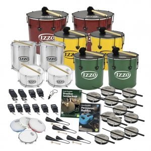 This is a product image of the Brazilian Samba - Secondary - 30 Player Class Pack - Budget Buddies. The products are laid out and include the following; Back Row - Two Nesting Surdo - 18in diameter, aluminium, Izzo (Red). Second Row - Two Nesting Surdo - 16in diameter, aluminium, Izzo (Yellow). Third Row - Repinique - 12in diameter, aluminium, Izzo (Silver). Fourth Row - Two Caixa - 12in diameter, aluminium, Izzo (Silver), two Nesting Surdo - 14in diameter, aluminium, Izzo (Green). Fifth Row - Two straps for the Caixas, eight straps for the Repiniques and Surdos, one Tritone Samba Whistle (Apito), Andy Gleadhill's Brazilian Samba Book, Andy Gleadhill's Percussion Buddies Book, twelve Tamborim - Izzo. Bottom Row - Four Pandeiro - 10in diameter, Izzo, four Agogo Bells - Medium. All of the drums have a suitable beater or stick lying on top of their skin.
