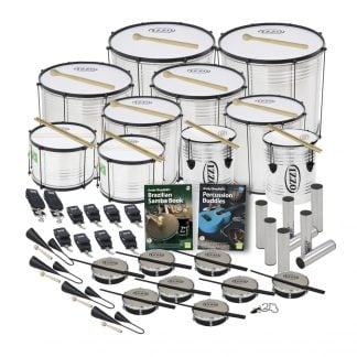 This is a product image of the Brazilian Samba - Secondary - 30 Player Economy Class Pack. The products are laid out and include the following; Back Row - Two Surdo - Economy - 18in diameter, aluminium, Izzo (Silver). Second Row - Two Surdo - Economy - 16in diameter, aluminium, Izzo (Silver). Third Row - Two Surdo - Economy - 14in diameter, aluminium, Izzo (Silver). Fourth Row - Two Caixa - Economy - 12in diameter, aluminium, Izzo (Silver), two Repinique - Economy - 10in diameter, aluminium, Izzo (Silver). Fifth Row - Two straps for the Caixas, eight straps for the Repiniques and Surdos, Andy Gleadhill's Brazilian Samba Book, Andy Gleadhill's Percussion Buddies Book, eight Ganza. Bottom Row - Four Agogo Bells - Medium, eight Tamborim - Izzo. All of the drums have a suitable beater or stick lying on top of their skin.