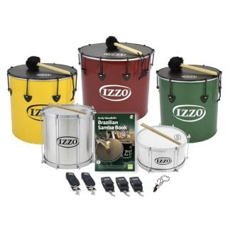 This is a product image of the Brazilian Samba - Secondary - 5 Big Drums Pack. The products are laid out and include the following; Back Row - One Nesting Surdo - 16in diameter, aluminium, Izzo (Yellow), one Nesting Surdo - 18in diameter, aluminium, Izzo (Red), one Nesting Surdo - 14in diameter, aluminium, Izzo (Green). Second Row - One Repinique - 12in diameter, aluminium, Izzo (Silver), Ady Gleadhill's Brazilian Samba Book, one Caixa - 12in diameter, aluminium, Izzo (Silver). Bottom Row - Two straps for the Repinique and Caixa, three straps for the Surdos, one  Tritone Samba Whistle (Apito). All of the drums have a suitable beater or stick lying on top of their skin.