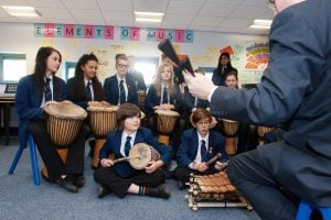 This is an action image of a Secondary School musical workshop with students using instruments from West Africa.