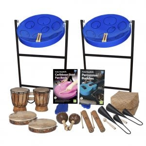 This is a product image of the Caribbean Steel Pan - 10 Player Jumbie Starter Pack. The products are laid out and include the following; Back Row - Jumbie Jam Steel Pan - Floor Standing (Blue). Second Row - One Bongos (African Bongos), Andy Gleadhill's Caribbean Steel Pan Book, Andy Gleadhill's Percussion Buddies Book, Storage Basket. Bottom Row - Two Tambourine, one Maraca - Coconut, pair, two Guiro - Small - bamboo, two Agogo Bells - Medium. The Steel Pans each have a pair of beaters resting on them.
