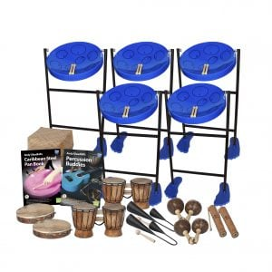 This is a product image of the Caribbean Steel Pan - 15 Player Jumbie Class Pack - Budget Buddies. The products are laid out and include the following; Back Row - Five Jumbie Jam Steel Pan - Floor Standing (Blue), Storage Basket. Second Row - Andy Gleadhill's Caribbean Steel Pan Book, Andy Gleadhill's Percussion Buddies Book. Bottom Row - Two Tambourine, two Bongos (African Bongos), two Agogo Bells - Medium, two Maraca - Coconut, pair, two Guiro - Small - bamboo. The Steel Pans each have a pair of beaters resting on them.