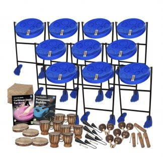 This is a product image of the Caribbean Steel Pan - 30 Player Jumbie Class Pack - Budget Buddies. The products are laid out and include the following; Back Three Rows - Ten Jumbie Jam Steel Pan - Floor Standing (Blue), Storage Basket. Fourth Row - Andy Gleadhill's Caribbean Steel Pan Book, Andy Gleadhill's Percussion Buddies Book. Bottom Row - Four Tambourine, four Bongos (African Bongos), four Agogo Bells - Medium, four Maraca - Coconut, pair, four Guiro - Small - bamboo. The Steel Pans each have a pair of beaters resting on them.