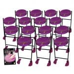 This is a product image of the Caribbean Steel Pan - Jumbie 15 Pack. The products are laid out and include the following; Fifteen Jumbie Jam Steel Pan - Floor Standing (Purple) and Andy Gleadhill's Caribbean Steel Pan Book. The Steel Pans each have a pair of beaters resting on them.