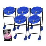 This is a product image of the Caribbean Steel Pan - Jumbie 5 Pack. The products are laid out and include the following; Five Jumbie Jam Steel Pan - Floor Standing (Blue) and Andy Gleadhill's Caribbean Steel Pan Book. The Steel Pans each have a pair of beaters resting on them.