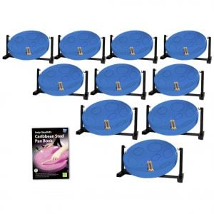 This is a product image of the Caribbean Steel Pan - Jumbie Desktop 10 Pack. The products are laid out and include the following; Ten Jumbie Jam Steel Pan - Desktop (Blue) and Andy Gleadhill's Caribbean Steel Pan Book. The Steel Pans each have a pair of beaters resting on them.
