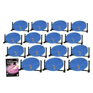 This is a product image of the Caribbean Steel Pan - Jumbie Desktop 15 Pack. The products are laid out and include the following; Fifteen Jumbie Jam Steel Pan - Desktop (Blue) and Andy Gleadhill's Caribbean Steel Pan Book. The Steel Pans each have a pair of beaters resting on them.