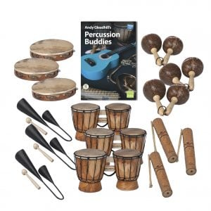 This is a product image of the Caribbean Steel Pan - Percussion Buddies - 15 Pack. The products are laid out and include the following; Top  Row - Three Tambourine, Andy Gleadhill's Percussion Buddies Book, three Maraca - Coconut, pair. Bottom Row - Three Agogo Bells - Medium, three Bongos (African Bongos), three Guiro - Small - bamboo.